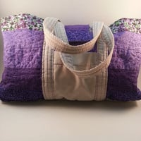 Purple and Tan Quilted Tote, Large Quilted tote, quilted purse, Floral purse, quilted bag, floral quilted bag, zipper purse, simple quilted