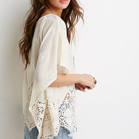 Embroidered Chiffon Crochet-Paneled Top