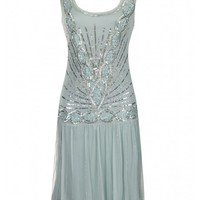 Zelda Flapper Dress Seafoam - New In
