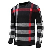 BURBERRY Fashion Men Women Classic Plaid Long Sleeve Knit Sweater Sweatshirt Black