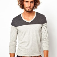 ASOS Long Sleeve V Neck T-Shirt with Cut And Sew