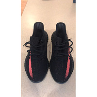 Adidas Yeezy Boost 350 V2 Black With Red Stripe Size 9. 100% Authentic