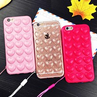 Cute Candy Peach Heart Jelly Case For iphone 6 Case For iphone 6S 6 Plus Phone Cases Korean Soft Silicone TPU Love Phone Cases