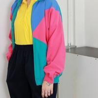 80's Color Block Jacket / L
