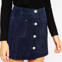 ASOS Suede A-Line Skirt With Button Through And Pocket Detail at asos.com