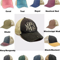 Distressed Monogrammed Hats, Distressed trucker hat, Gifts for Teens and Women, Initials hats Embroidered hats
