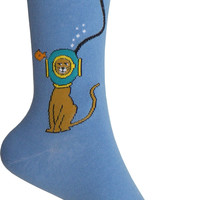 Diving Kitty Crew Socks in Blue