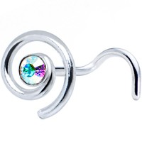 Sterling Silver Swirl Aurora Nose Ring Created with Swarovski Crystals