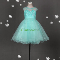 latest tulle bridesmaid dresses with sequins and crystals / short simple homecoming gowns hot / cheap girls dress for holiday party