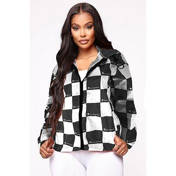 Champion Women Fashion Printed Hooded Zipper Cardigan Jacket Windbreaker