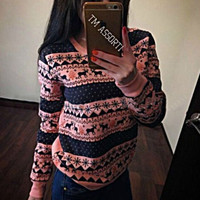 Print Stylish Round-neck Long Sleeve Christmas Hoodies [9521386692]