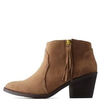 Light Taupe Side-Tassel Chunky Heel Booties by Charlotte Russe