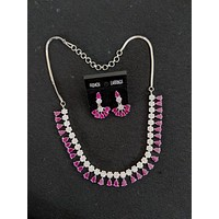Casual flower cz stone embedded choker necklace and earring set - Platinum finish