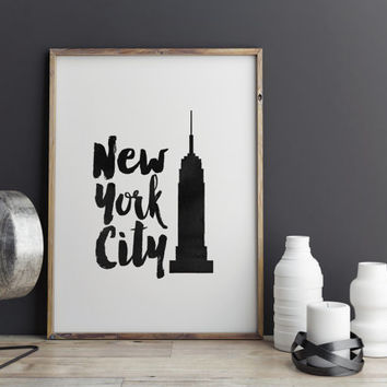 "PRINTABLE Art"" New York City"" Inspirational Art,Typography,Office Decor,Wall Decor,Dorm Room Decor,Apartment Decor,Wall Hanging,Print"