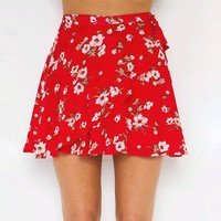 Print Red Irregular Beach Sea Vacation Dress Skirt [9819002701]