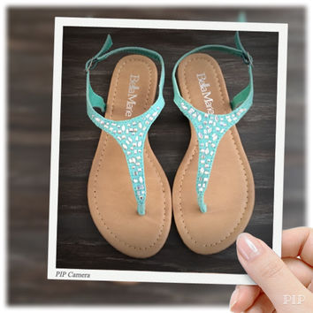 """""""Fun Time, Any Time"""" Crystal Accented Mint Suede Sandals"""