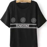 Sunshine Graphic Print Black T-Shirt