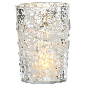 Vintage Mercury Glass Candle Holder (4-Inch, Fleur Design, Flower Motif, Silver) - For Home Decor, Party Decorations, and Wedding Centerpieces
