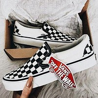 VANS Slip-On Classic Stylish Women Men Canvas Old Skool Print Flats Sneakers Sport Shoes