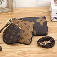 LV Louis Vuitton fashion classic color matching letter three-piece round key case small wallet Bag