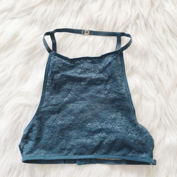 Aria Lace Cage Back Halter (Dusty Blue)