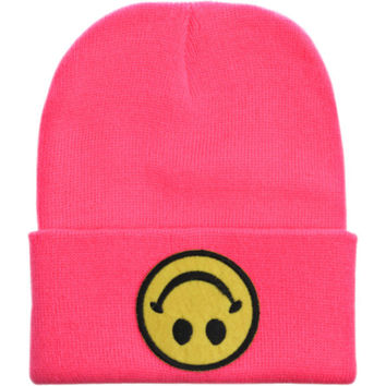 upside down smiley face beanie