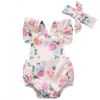 2017 Cute Baby Girls Clothing 2PCS/Sets Newborn Infants Girls Clothes Set Summer Floral Rompers Jumpsuit + Headband Outfits Suit