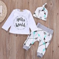 3pcs Outfits Set Newborn Toddler Infant Kids Baby Boy Girls Clothes T-shirt Long Sleeve Arrow Tops Pants Cute Boys