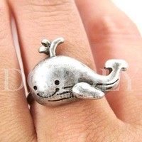 Adorable Whale Shaped Adjustable Animal Ring in Silver | DOTOLY