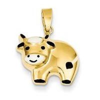 Enameled Cow Charm in 14k Gold