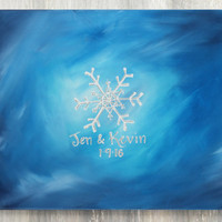 Winter Wedding Guestbook Canvas / Personalized Guestbook Alternative  / 11x14, 16x20, or 20x24