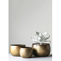 """Set of 3 Antique Gold Round Metal Planters - 4.5-7"""" Wide"""