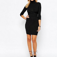 High Neck Slim Bodycon Dress B0014031