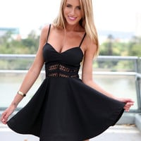 Black Sheer Lace Summer Dress