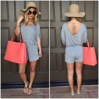 Gray Half Sleeve Backless Romper