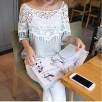 Summer Women Tops Chiffon Lace t shirt New  Women Lace Blouse Large Size Openwork Shawl Collar Women T-shirt