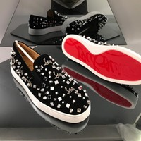 Christian Louboutin CL Trending Men's Women Black Leather Side Zip Lace-up Ankle Boots Shoes High Boots