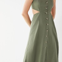 UO Halter Linen Button-Down Tie Dress | Urban Outfitters