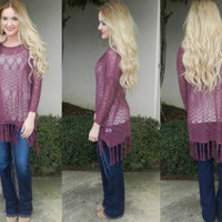 Sugar Plum Fringe Top