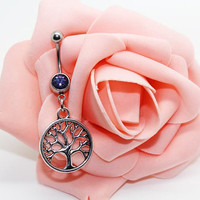 Belly button ring, Tree of life belly ring , Tree of life  belly button jewelry