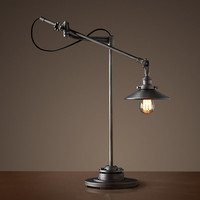 20th C. Factory Filament Reflector Table Lamp - Aged Steel