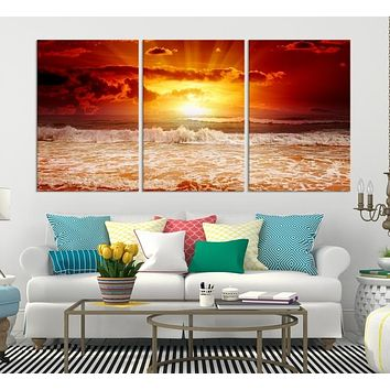 Red Sunset on the Huge White Waves Wall Art Large Canvas Print