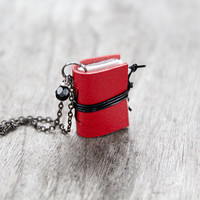 Miniature book necklace, mini book jewelry, initial necklace pendant steampunk journal necklace leather eco friendly necklace literature red