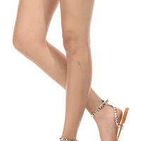 Gold Glitter Piped Studded Jelly Sandals