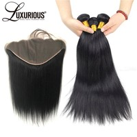 Straight Hair Bundles With Closure Brazilian Hair Weave Bundles 13x6 Lace Frontal Closure Remy Human hair 3 Bundles With Frontal