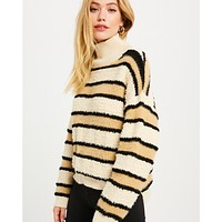 Fuzzy Cream Stripe Sweater