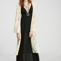 Floral-Embroidered Longline Cardigan