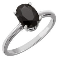 14k Gold Oval 8x6 Faceted Onyx Scroll Set Ring - White, Yellow or Rose Gold