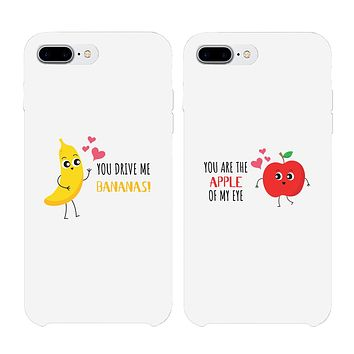 Bananas and Apple Matching White Couple Phone Cases