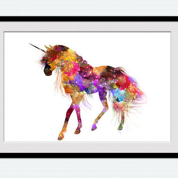 Unicorn watercolor print Unicorn colorful poster Unicorn art illustration Home decoration Kid room wall art Nursery room decor Gift art W476